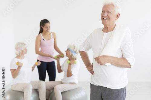Wall mural Grandpa after workout