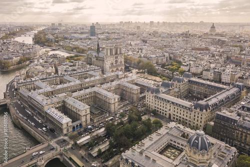 Plagát Flying above roofs of Paris. November 2017
