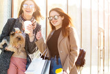 Friends are happy shopping, walking near shopping centers - 181488249
