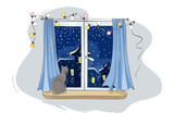 Cat looks at the falling snow / Gray cat in the house on the window waiting for the host, Christmas is coming, vector illustration