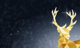 Weihnachten Hirschkopf - Blau Gold - 181493403