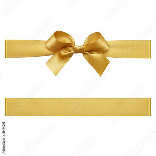 Złoty łuk wiązany za pomocą jedwabnej wstążki, wyciąć widok z góry