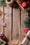 Christmas composition on a wooden table, Christmas frame, - 181495629