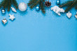 Christmas, New Year winter blue concept frame. Top view. Copy space