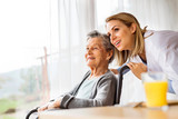 Health visitor and a senior woman during home visit. - 181498280