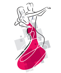 Balroom Dancers Couple. Stylized illustration of Young couple dancing ballroom dance. Vector available.