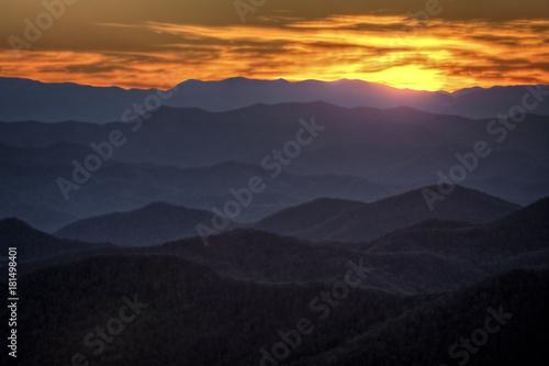 Staande foto Ochtendgloren Sunset On the Blue Ridge Parkway