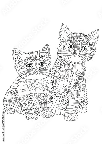 Two kittens. Hand drawn picture. Sketch for anti-stress adult coloring book in zen-tangle style. Vector illustration for coloring page.