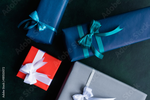 family holidays present choice on dark background wide variety of gift on birthday new