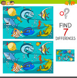 differences game with fish characters