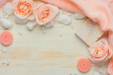 Spa settings with roses. Various items used in spa treatments on white wooden background. - 181504414