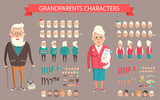 Grandparents Constructor Vector Illustration.
