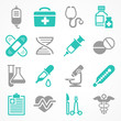 Medical icons on white, medicine symbols in grey blue, Vector