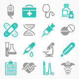 Medical icons on white, medicine symbols in grey blue, Vector - 181508607