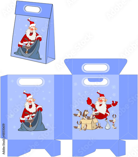 Papiers peints Chambre bébé Cute Santa Claus. Handbags Packages Pattern