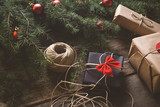 Christmas background with decoration and gifts  - 181511475