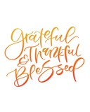 Thankful Grateful and Blessed Thanksgiving Calligraphy  - 181512022