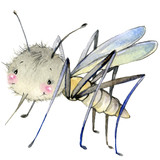 Cartoon insect watercolor illustration.