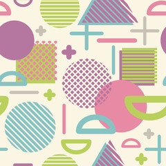 Seamless vector pattern with various geometric shapes and textures.