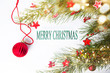 Merry Christmas card with red decorations
