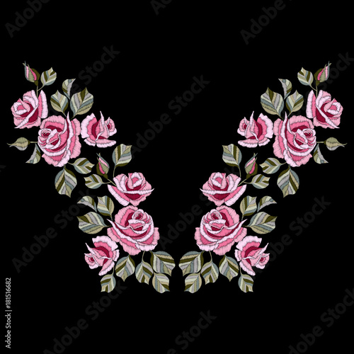 Fototapeta  Neck line embroidery with rose flowers vector illustration.