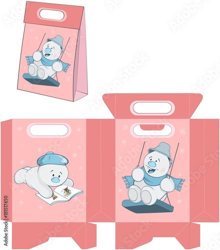 Papiers peints Chambre bébé Illustration of a Christmas Snowman. Handbags Packages Pattern