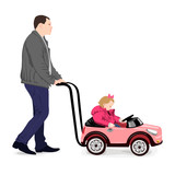 the father rolls the small girl on the push cart in the form of toy car
