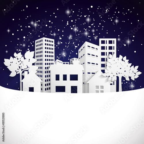 Sticker Snowy Paper town