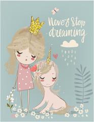 Cute unicorn with princess