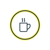 Vector Illustration Of Coffee Mug Outline. Beautiful Office Element Also Can Be Used As Cappuccino Element.
