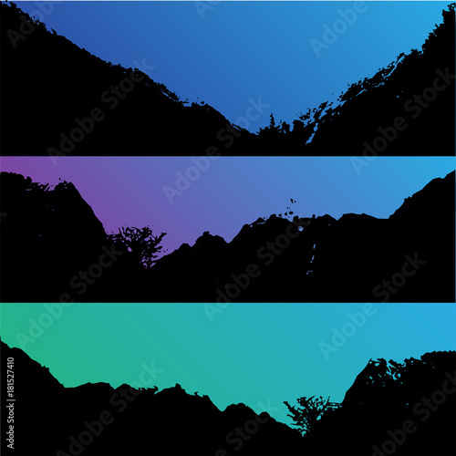 Fotobehang Zwart Set of vector hills and mountain landscape silhouette. Realistic trees, woods on hill silhouettes on night and evening sky. Outdoor nature scene