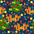 Merry Christmas background with trees, squirrels, balls, lollipops, snowflakes, bows and gifts. Holiday seamless pattern with funny animals.  - 181533412