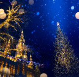 art European Christmas; Christmas Tree and Old city; - 181534299
