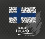 Flag of Finland, vector chalk illustration on black background - 181535830
