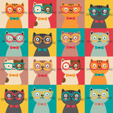 seamless pattern with colorful cats in squares - vector illustration, eps