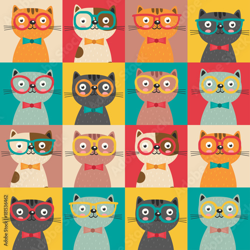 Fototapeta seamless pattern with colorful cats in squares - vector illustration, eps