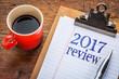 2017 review on blackboard on clipboard