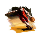 Digital painting of a basketball player