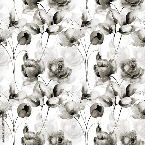 Naklejka Seamless wallpaper with spring flowers