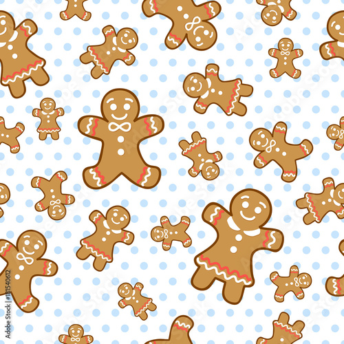 Vector ginger cookie seamless pattern