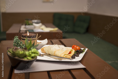 Vegetairan healthy fitness pancakes with vegetables and cheese romantic dinner restaurant - 181540844