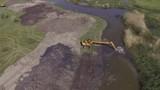 Nemunas river near the castle going dredging works - 181544836