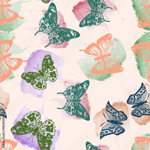 Foto op Canvas Vlinders in Grunge Watercolor, Butterfly, paints, spots, blue, violet, pink, seamless background.