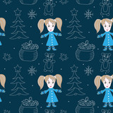 Seamless pattern with little cute little girl and white line tree, star, bear, gift box