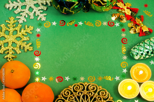Christmas frame for text, Christmas decorations, mandarins, Christmas decorations, snowflakes, candles - 181548098