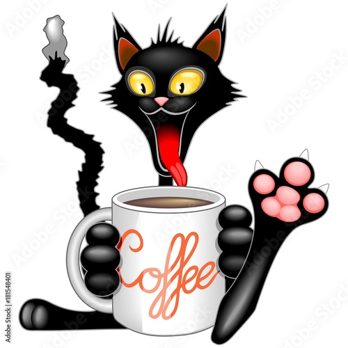 Keuken foto achterwand Draw Funny Happy Cat with Big Coffee Mug