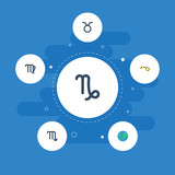 Flat Icons Goat, Zodiac Sign, Horoscope And Other Vector Elements. Set Of  Flat Icons Symbols Also Includes Virgin, Deva, Capricorn Objects.