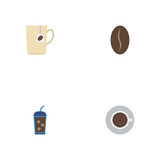 Flat Icons Beverage, Mug, Saucer And Other Vector Elements. Set Of Coffee Flat Icons Symbols Also Includes Cup, Saucer, Beverage Objects. - 181550201