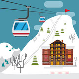 Winter landscape with ski resort, ski funicular and hotels. - 181550299