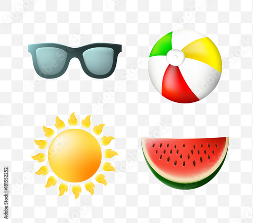 In de dag Bol Set of Cute Summer Icons on Transparent Background . Isolated Vector Illustration